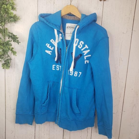 3//$20 AEROPOSTLE blue zip up hoodie